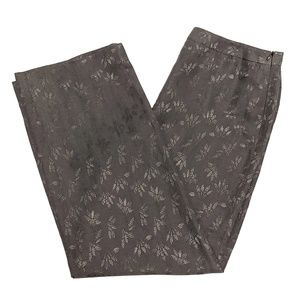 Armani Collezioni Wide Leg Embroidered Silk Pants